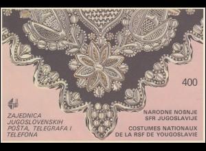 Jugoslawien Markenheftchen 1 Volkstrachten 1986, ** postfrisch