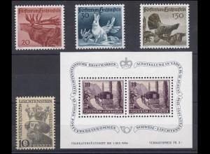 247-251 Liechtenstein-Jahrgang 1946 komplett, postfrisch