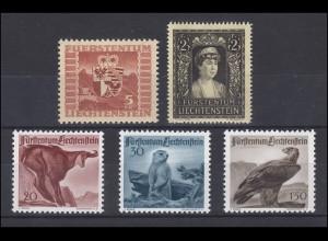 252-256 Liechtenstein-Jahrgang 1947 komplett, postfrisch **