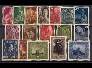 289-305 Liechtenstein-Jahrgang 1951 komplett, postfrisch