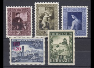 306-310 Liechtenstein-Jahrgang 1952 komplett, postfrisch