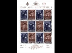 Liechtenstein 360-361 Pfadfinderbewegung 1957 - Zusammendruckbogen **