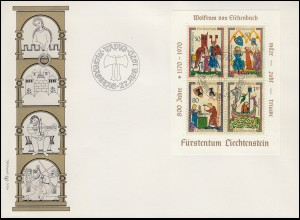 Liechtenstein Block 8 Minnesänger auf Schmuck-FDC 27.8.1970