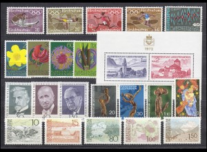 556-578 Liechtenstein Jahrgang 1972 komplett, postfrisch