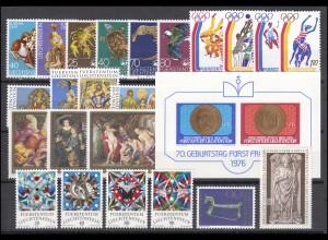 642-666 Liechtenstein Jahrgang 1976 komplett, postfrisch