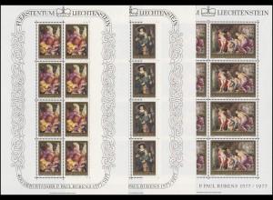 655-657 Peter Paul Rubens 1976, 3 Werte, Kleinbogen-Satz **