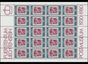750 Jubiläum 50 Jahre Postmuseum Vaduz 1980, Kleinbogen **