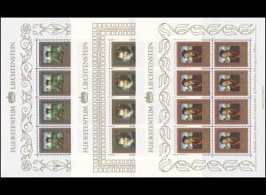 881-883 Gemälde aus Fürstlichen Sammlungen 1985, 3 Werte, Kleinbogen-Satz **