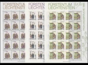 899-901 Frühlingsbräuche 1986, 3 Werte, Kleinbogen-Satz **