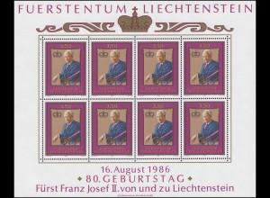 903 Jubiläum 80. Geburtstag Fürst Franz Josef II. 1986, Kleinbogen **