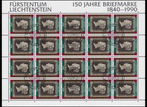 986 Jubiläum 150 Jahre Briefmarken, Kleinbogen ESSt Vaduz 5.3.1990