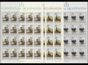 997-999 Jagdwesen - Jagdfasan, Birkhahn, Stockerpel, Kleinbogen-Satz **