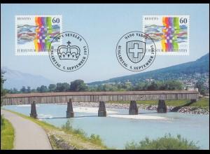 1115 Schweizerisch-Liechtensteinische Nachbarschaft auf Maximumkarte MK 134 A