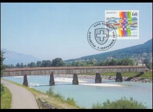1115 Schweizerisch-Liechtensteinische Nachbarschaft auf Maximumkarte MK 134