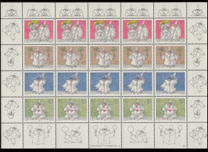 1173-1176 Grußmarken: Spaß am Brief 1998, Zusammendruck-Bogen **