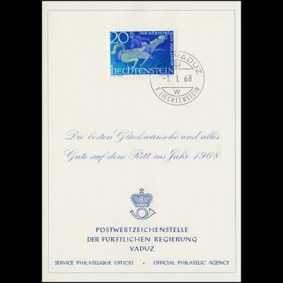 Liechtenstein 475 Weihnachten / Sagen - Grußkarte zum Jahreswechsel 1968