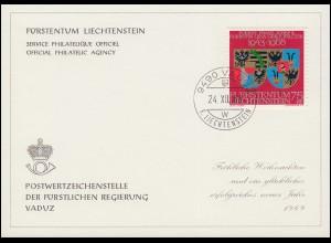 Liechtenstein 496 Weihnachten / Wappen - Grußkarte zum Jahreswechsel 1969
