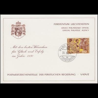 Liechtenstein 511 Weihnachten / Kunst - Grußkarte zum Jahreswechsel 1970
