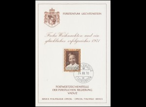 Liechtenstein 526 Weihnachten / Prinz Wenzel - Grußkarte zum Jahreswechsel 1971