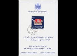 Liechtenstein 547 Weihnachten / Fürstenhut - Grußkarte zum Jahreswechsel 1972