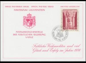 Liechtenstein 641 Weihnachten - Grußkarte zum Jahreswechsel 1976