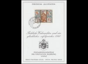 Liechtenstein 739 Weihnachten - Grußkarte zum Jahreswechsel 1980