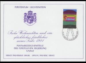 Liechtenstein 762 Weihnachten - Grußkarte zum Jahreswechsel 1981