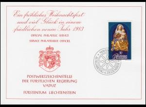 Liechtenstein 814 Weihnachten - Grußkarte zum Jahreswechsel 1983