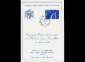 Liechtenstein 832 Weihnachten - Grußkarte zum Jahreswechsel 1984