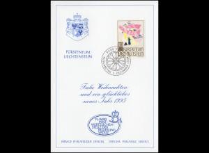 Liechtenstein 1098 Weihnachten - Grußkarte zum Jahreswechsel 1995
