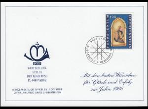 Liechtenstein 1122 Weihnachten - Grußkarte zum Jahreswechsel 1996