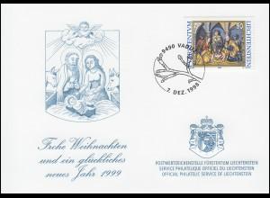 Liechtenstein 1184 Weihnachten - Grußkarte zum Jahreswechsel 1999