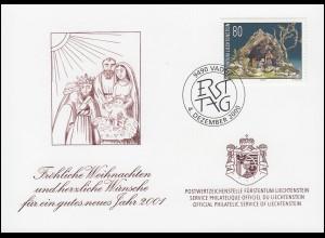 Liechtenstein 1249 Weihnachten - Grußkarte zum Jahreswechsel 2001