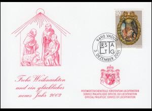 Liechtenstein 1276 Weihnachten - Grußkarte zum Jahreswechsel 2002