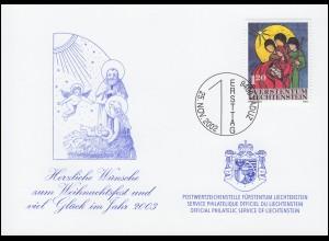 Liechtenstein 1305 Weihnachten - Grußkarte zum Jahreswechsel 2003