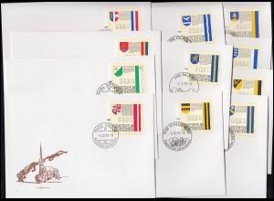 1-11 Liechtenstein-ATM 1995, 11 Werte komplett, Satz auf 11 Schmuck-FDC