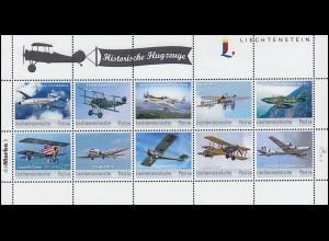 Liechtenstein Kollektionsbogen 8 Historische Flugzeuge 2017 ** postfrisch