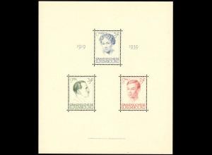 Block 3 Luxemburg: Regierungsjubiläum Großherzogin Charlotte 1939. postfrisch **