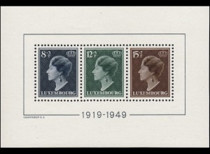 Block 7 Luxemburg: Regierungsjubiläum Großherzogin Charlotte 1949. postfrisch **