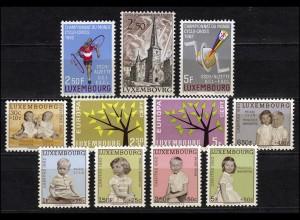 655-665 Luxemburg-Jahrgang 1962 komplett, postfrisch
