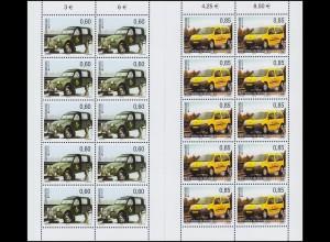 1969-1970 EUROPA Postfahrzeuge - Citroen und Renault 2013, Kleinbogen-Satz **