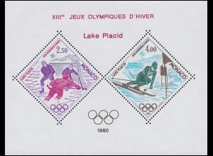 Monaco 1419-1420 Sonderdruck in Blockform Olympia Lake Placid 1980