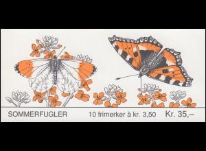 Norwegen Markenheftchen 20 Schmetterlinge Butterflies Sommerfugler 1993, **