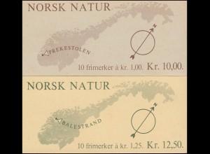 Norwegen-Markenheftchen 726+727 Landschaften, 2 MH ** postfrisch