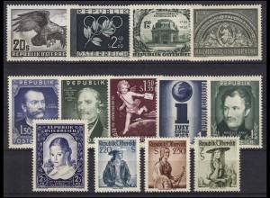 968-980 Österreich-Jahrgang 1952, 13 Marken komplett, postfrisch **