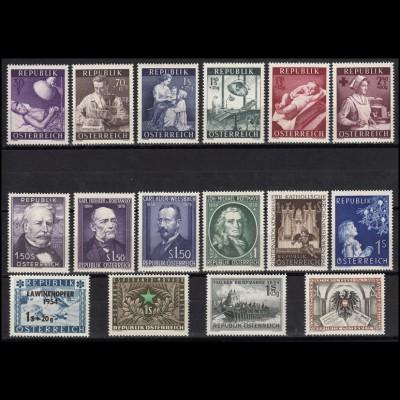 996-1011 Österreich-Jahrgang 1954, 16 Marken komplett, postfrisch