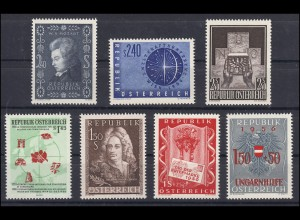 1024-1030 Österreich-Jahrgang 1956 komplett, postfrisch