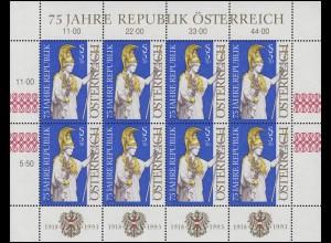 2113 Jahrestag Republik Österreich 1993 - kompletter Kleinbogen, postfrisch