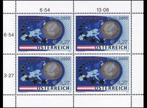 2368 Einführung des Euros 2002 - kompletter Kleinbogen, postfrisch