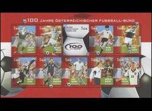 2460-2469 Fußballbund: Fußballspieler 2004 - kompletter Kleinbogen, postfrisch